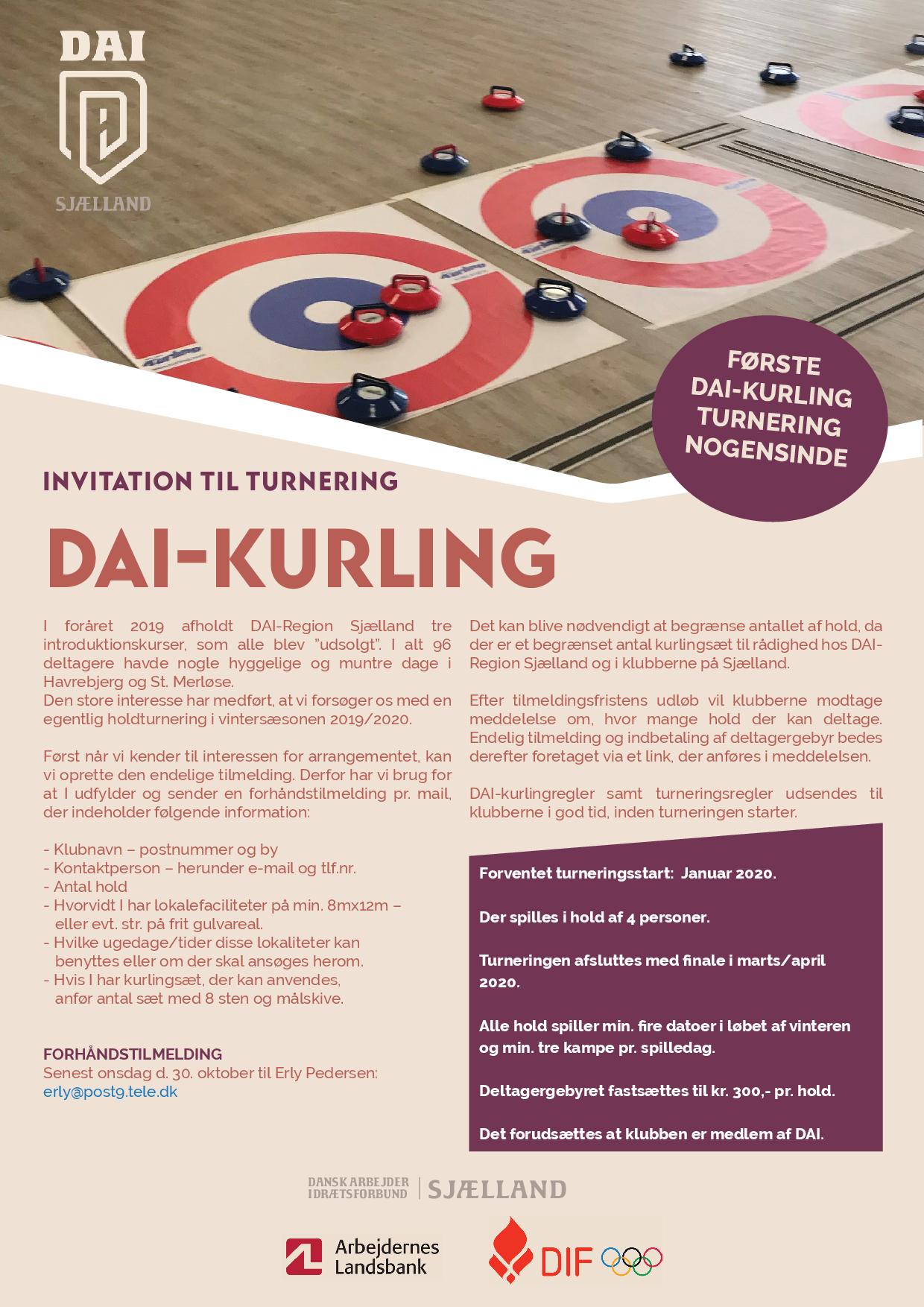 DAI (Dansk Arbejder Idrætsforbund) inviterer til DAI-Kurling turnering.